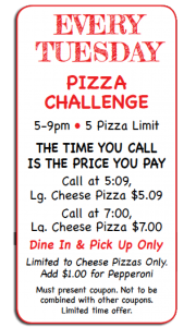 Tuesday Pizza Special ~ Beat the Clock